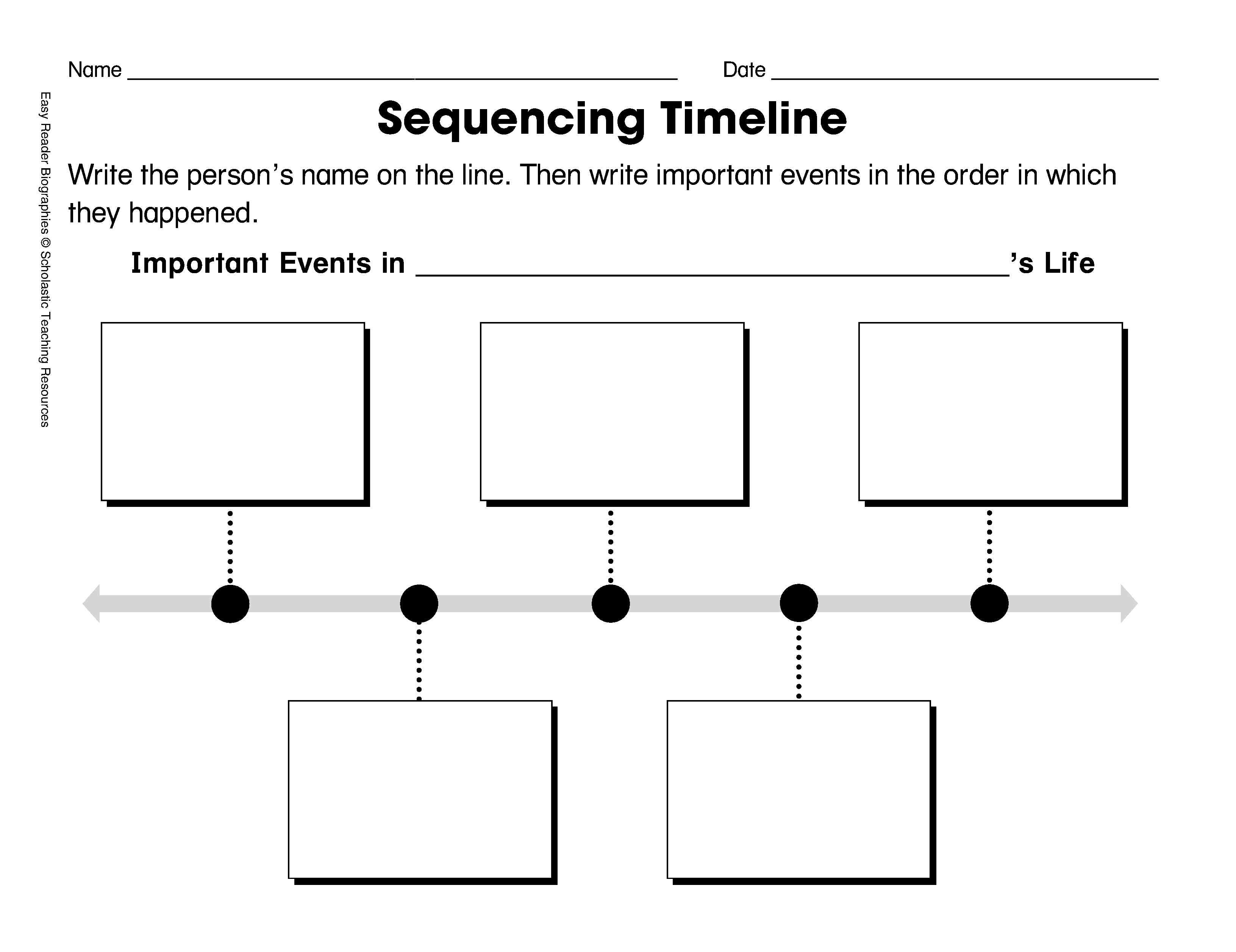 Sequencing Timeline Template: Ordering Biographical Events - Free Printable Sequence Of Events Graphic Organizer