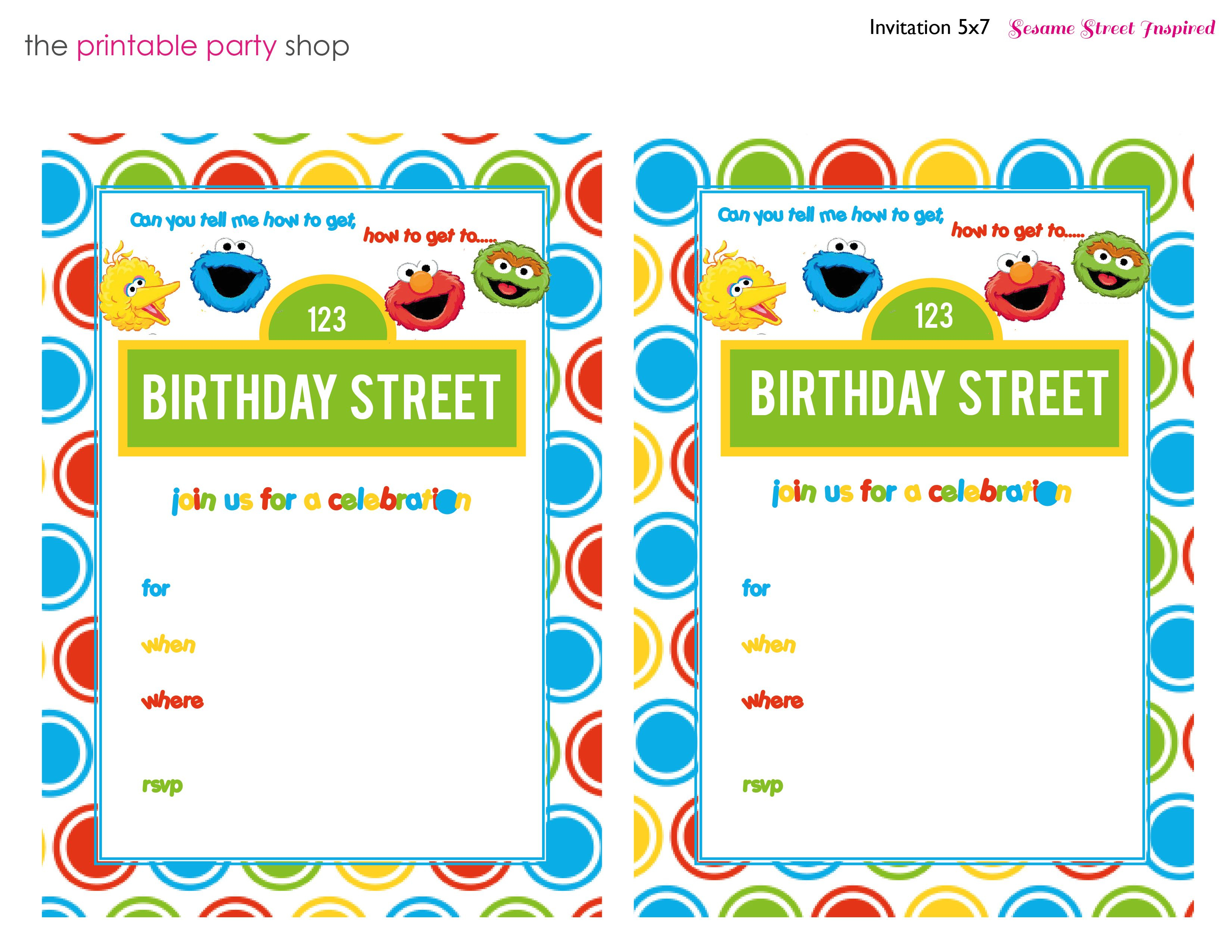Sesame Street Printable Invitation Diy Fill In The Blank Free - Printable Invitations Free No Download