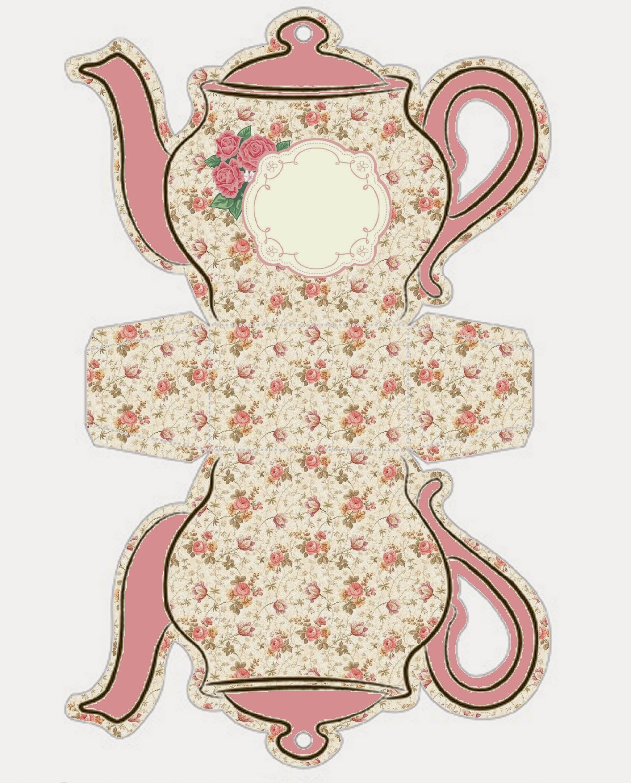 Shabby Chic Teapot Free Printable Boxes. | Oh My Fiesta! In English - Free Teapot Printable