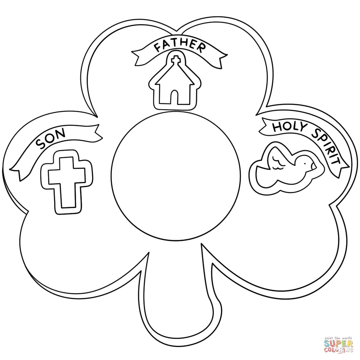 Shamrock Holy Trinity Coloring Page | Free Printable Coloring Pages - Free Printable Shamrocks