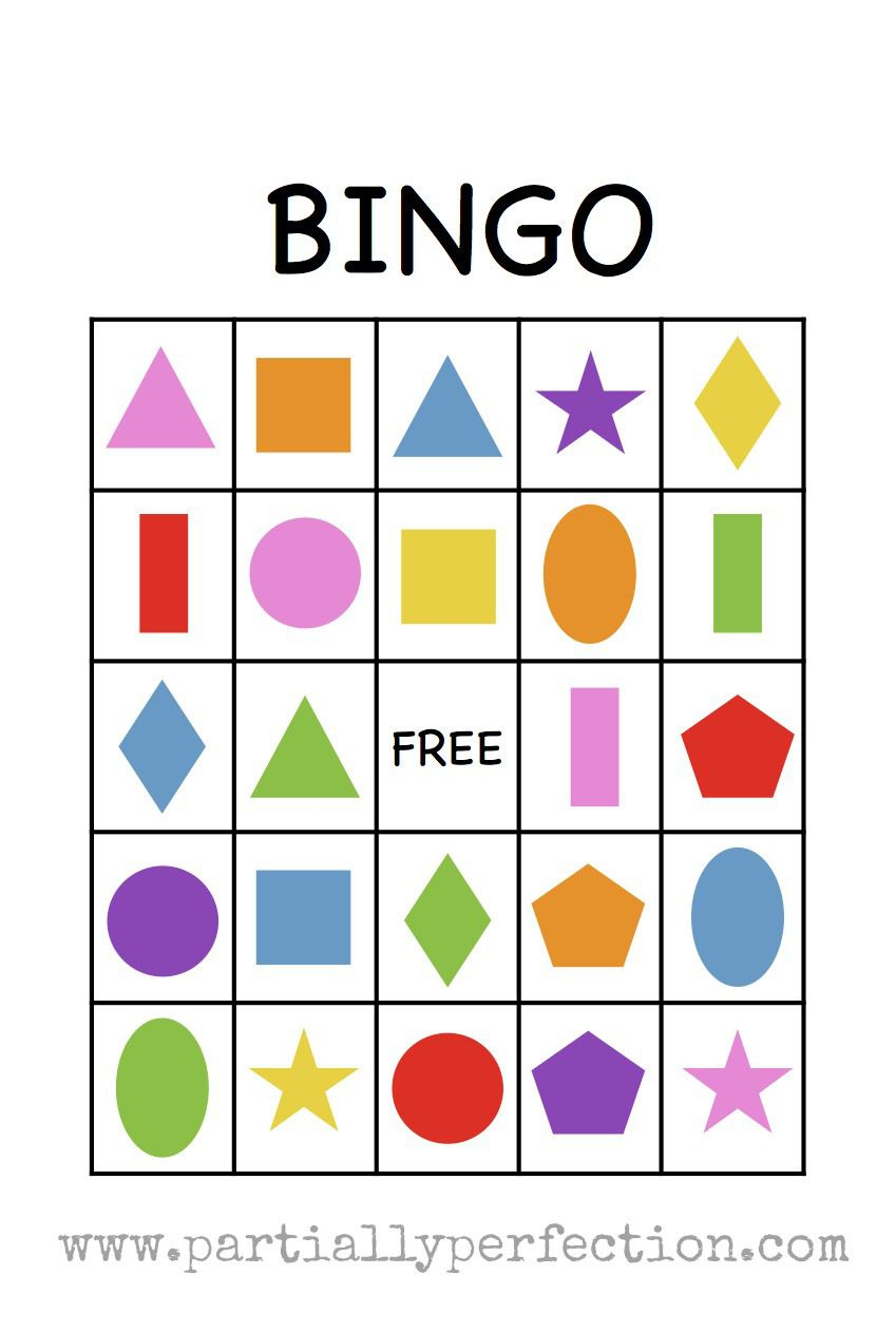 Shape Bingo Card - Free Printable - I'm Going To Use This To Teach - Free Bingo Patterns Printable