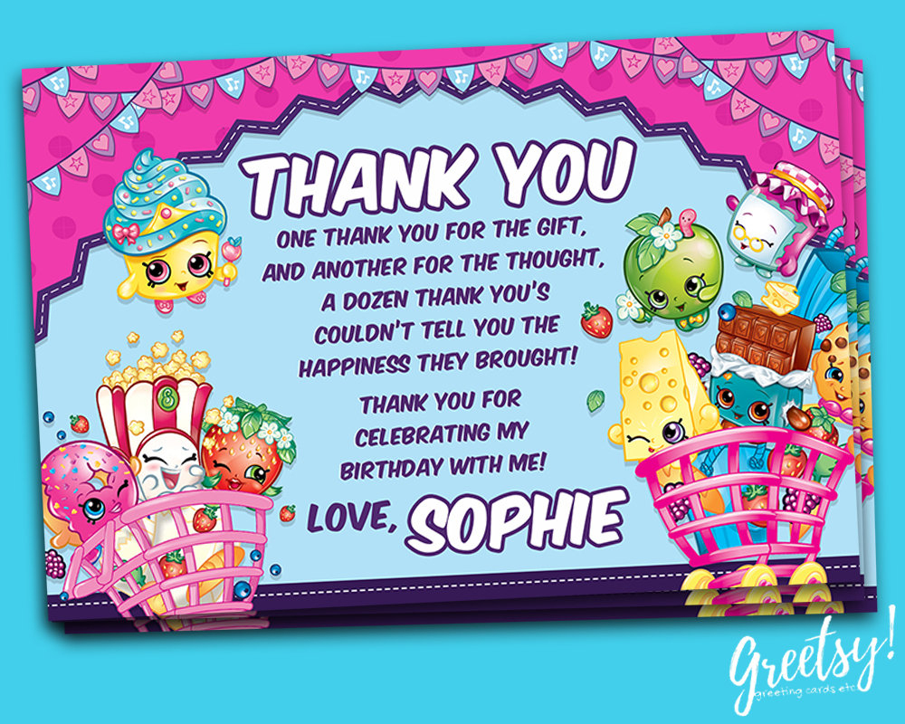 Shopkins Thank You Card Shopkins Birthday Favor Card | Etsy - Free Printable Shopkins Thank You Cards
