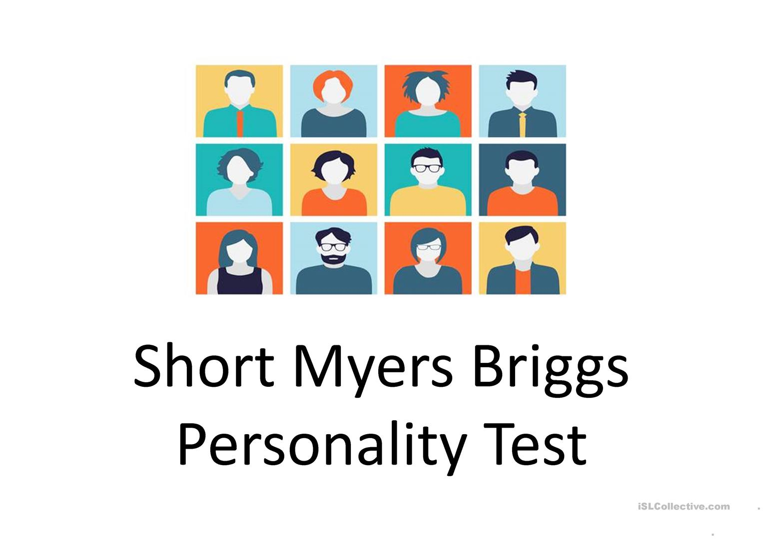 Short Myers Briggs Personality Test Worksheet - Free Esl Projectable - Free Printable Personality Test