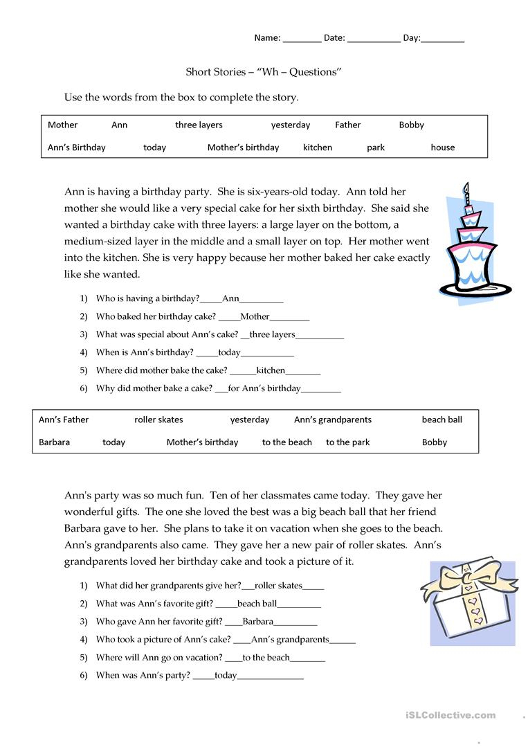 Short Stories Wh-Questions - Answers Worksheet - Free Esl Printable - Free Printable Short Stories With Comprehension Questions