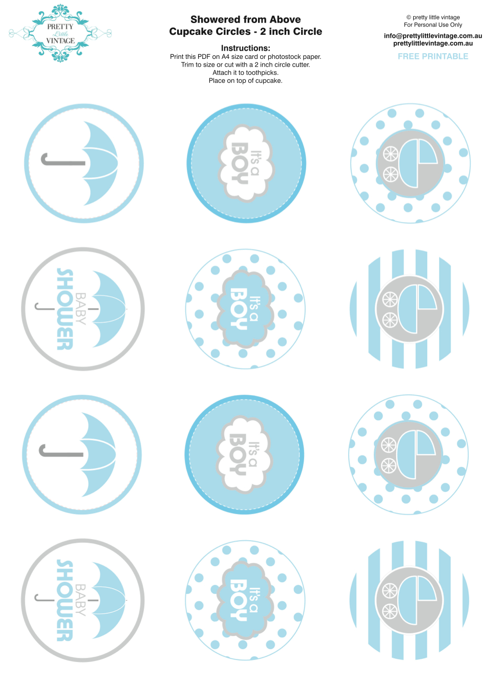 Showered From Above Rain Boy Baby Shower Printables Planning Ideas - Free Printable Whale Cupcake Toppers