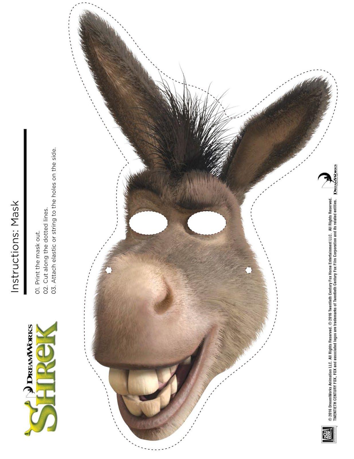 Shrek Photo Booth Props: Free Printable Shrek Mask | Shrek Birthday - Free Printable Shrek Birthday Invitations