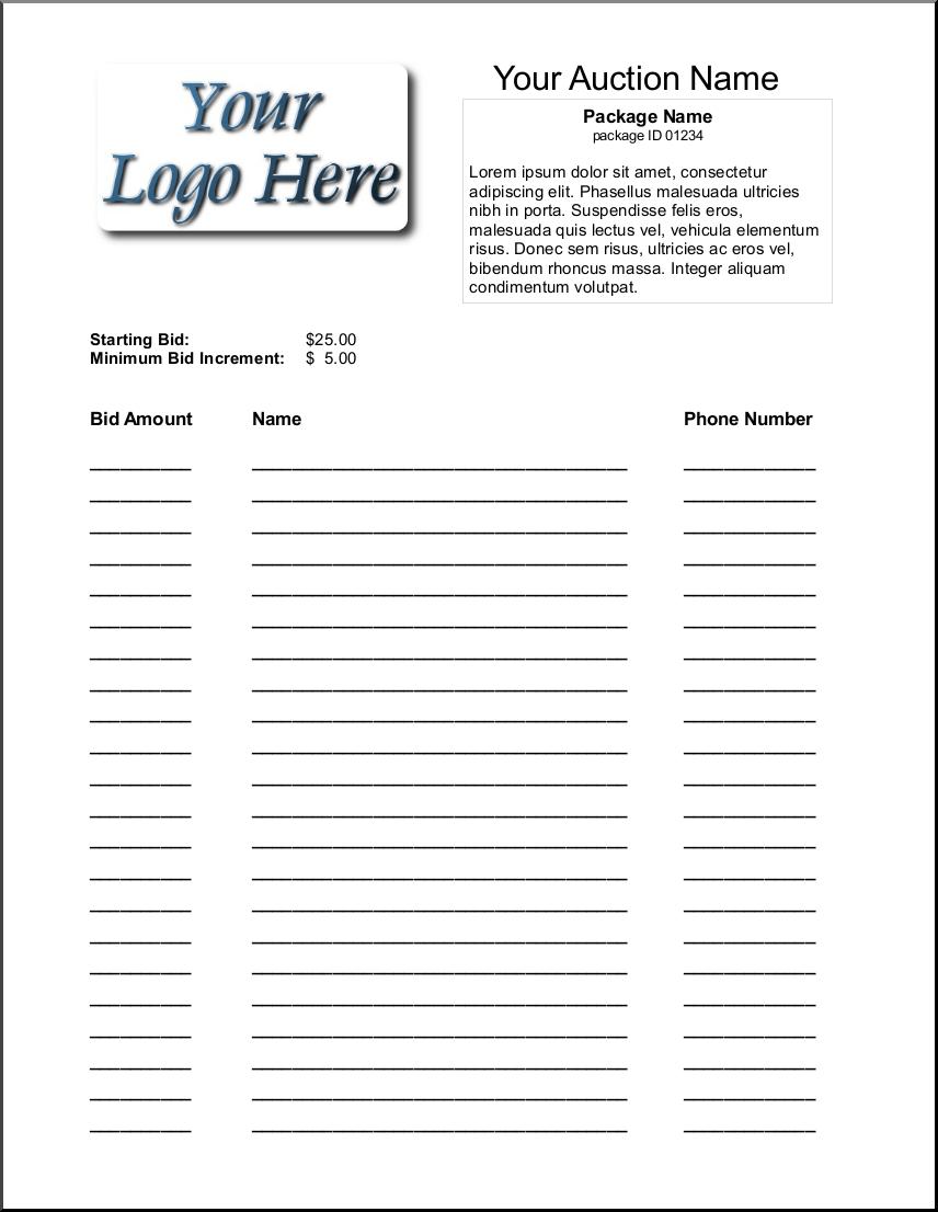 Silent Auction Bid Sheet Template 1641 | Silent Auction | Silent - Free Printable Silent Auction Bid Sheets