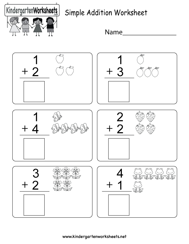 Simple Addition Worksheet - Free Kindergarten Math Worksheet For Kids - Free Printable Simple Math Worksheets