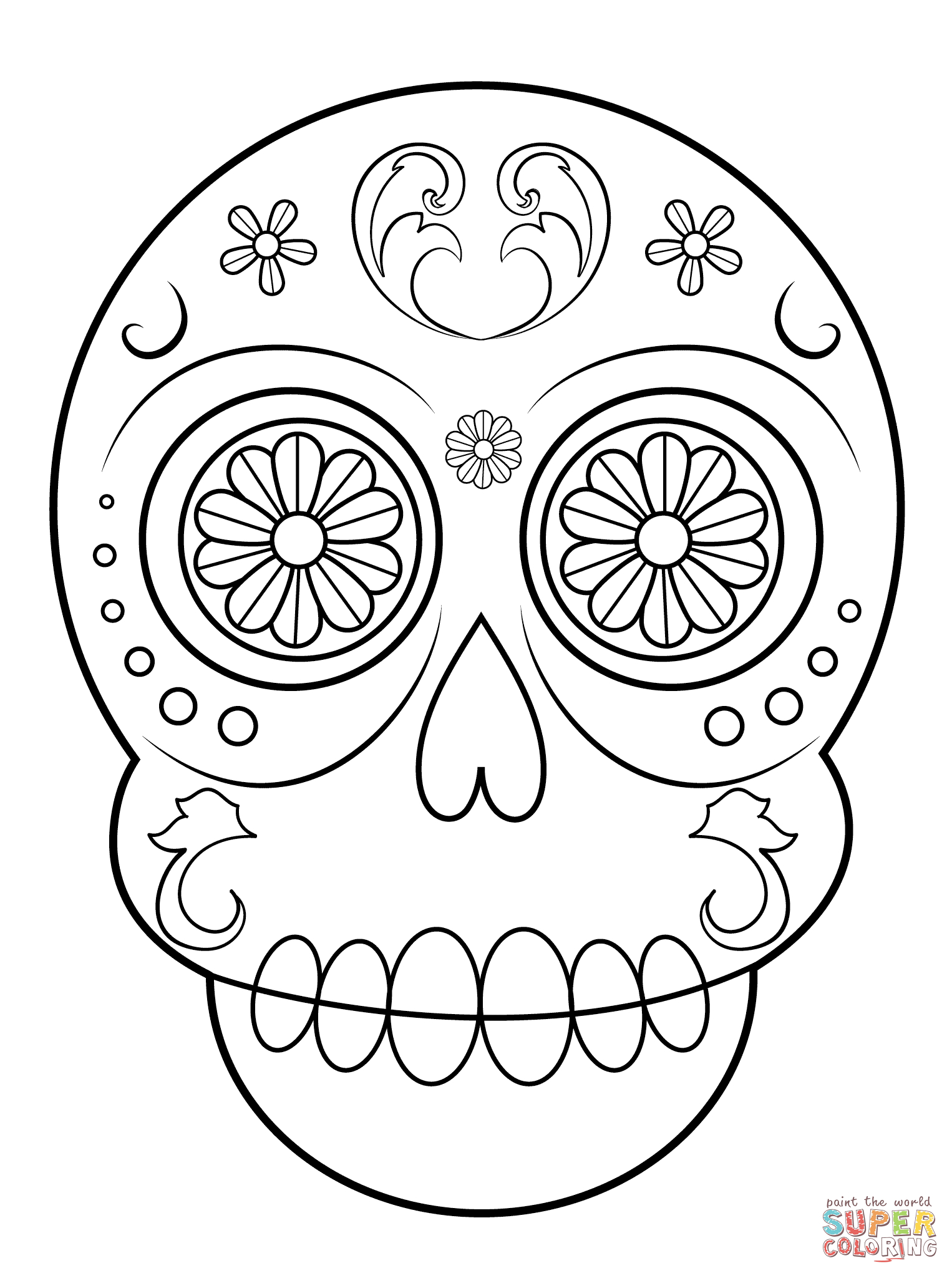 Simple Sugar Skull Coloring Page | Free Printable Coloring Pages - Free Printable Sugar Skull Coloring Pages