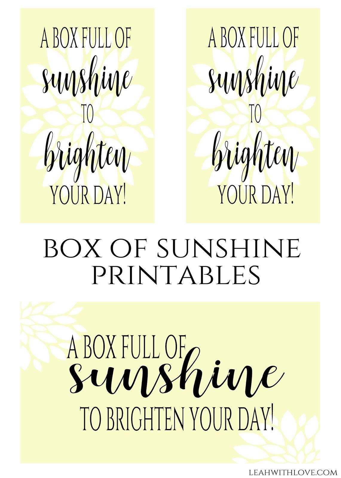 Simply Made With Love: Box Of Sunshine Gift - Box Of Sunshine Free Printable