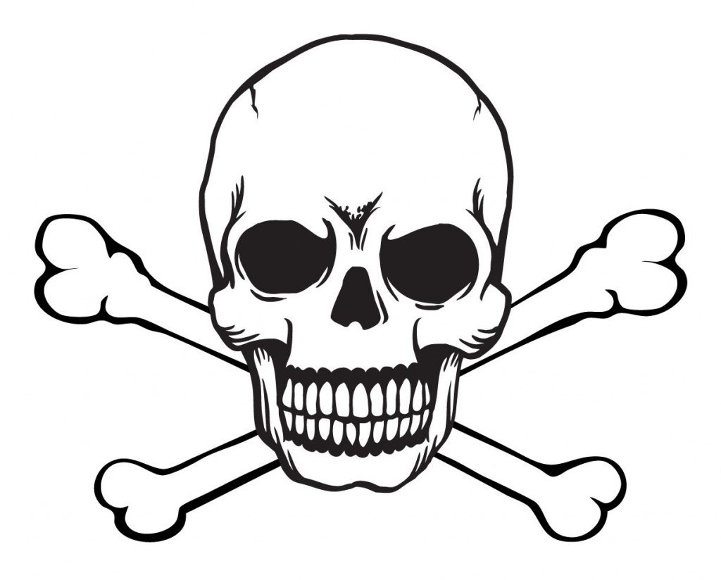 Skull Stencils Free Printable | Skull And Crossbones Free With Skull - Skull Stencils Free Printable