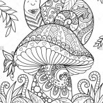Snail Sitting On Beautiful Mushroom For T Shirt Design, Tattoo And   Free Printable Mushroom Coloring Pages