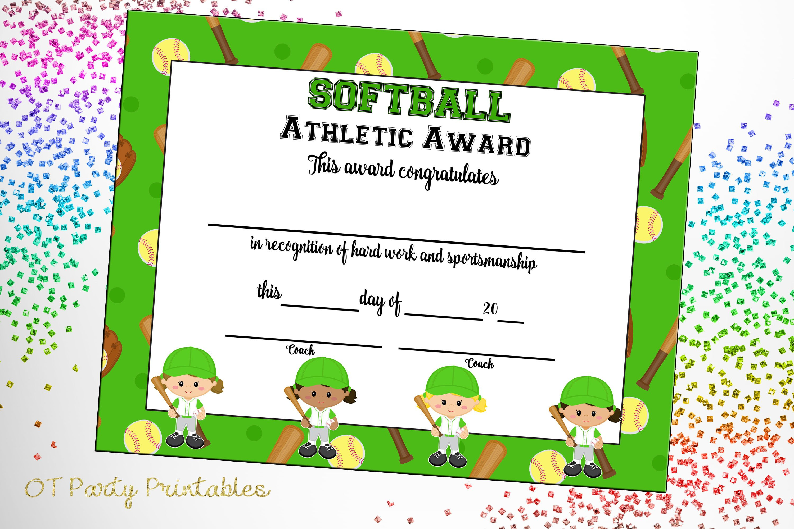 Softball Certificate Of Achievement Softball Award Print | Etsy - Free Printable Softball Award Certificates