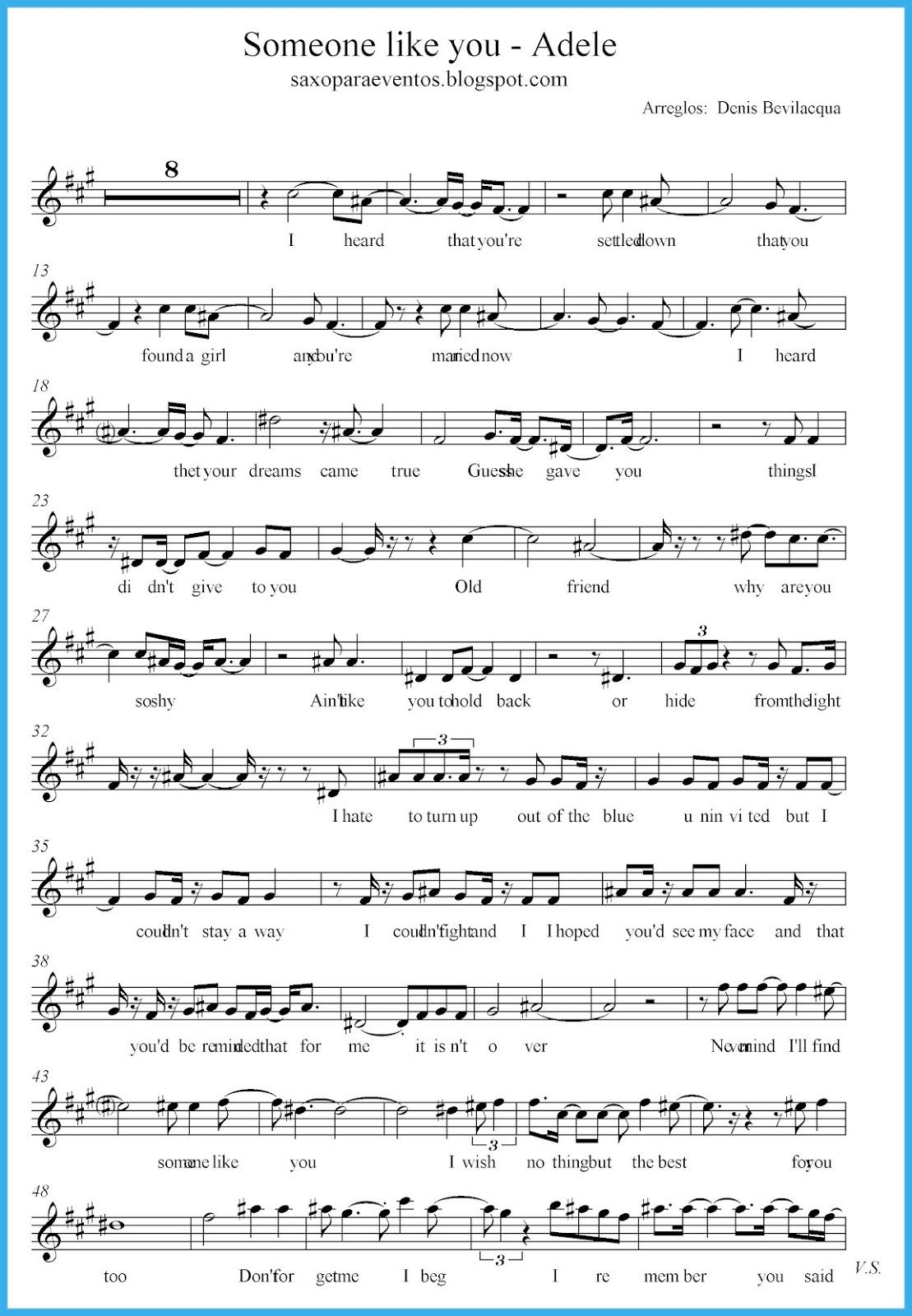 Someone Like You - Adele Score And Track (Sheet Music Free) | Free - Free Printable Sheet Music Adele Someone Like You