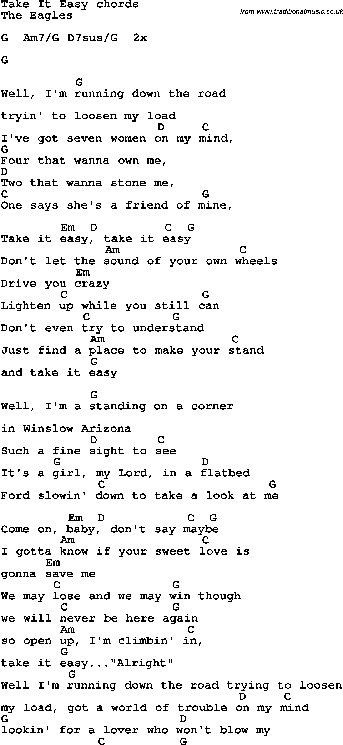 Song Lyrics With Guitar Chords For Take It Easy - The Eagles - Free Printable Song Lyrics With Guitar Chords
