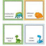 Southern Blue Celebrations: Free Dinosaur Food Tent Labels   Free Printable Dinosaur Labels