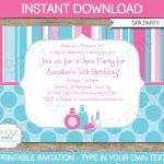 Spa Party Invitations Template | Birthday Party   Free Printable Spa Party Invitations Templates