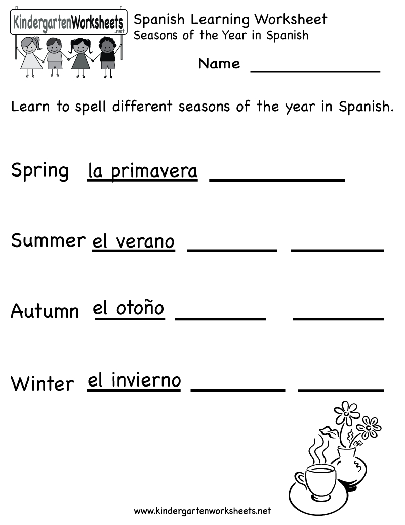 Spanish Worksheets For Kindergarten   Free Spanish Learning - Free Printable Elementary Spanish Worksheets