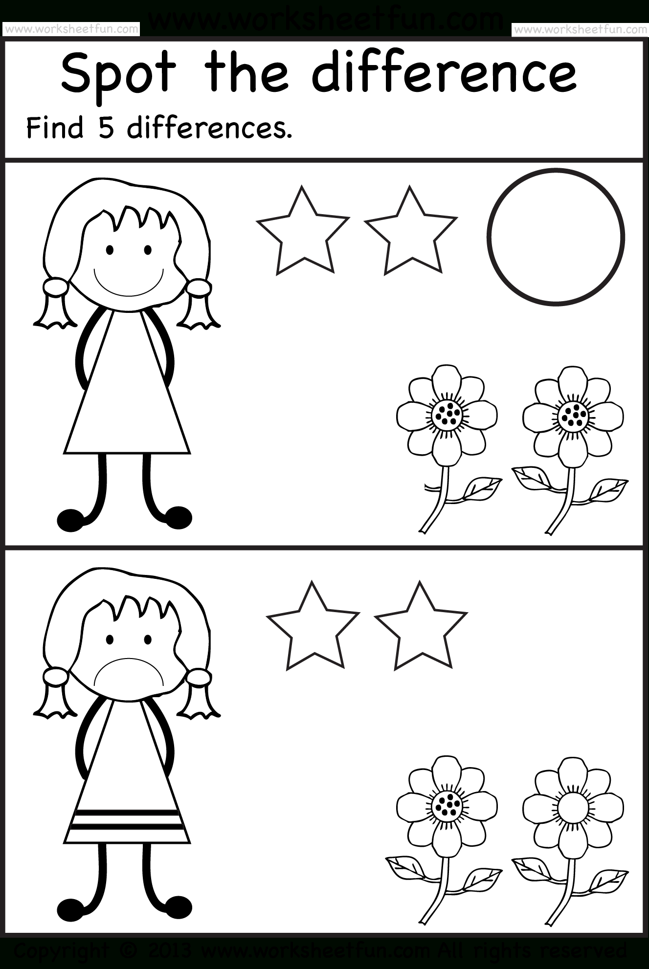 Spot The Differences | Pre K Activities | Pinterest | Worksheets For - Free Printable Same And Different Worksheets
