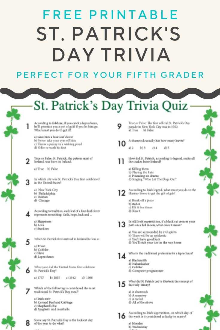 St. Patrick's Day Trivia | Worksheets | Pinterest | St Patrick's Day - Kwanzaa Trivia Free Printable