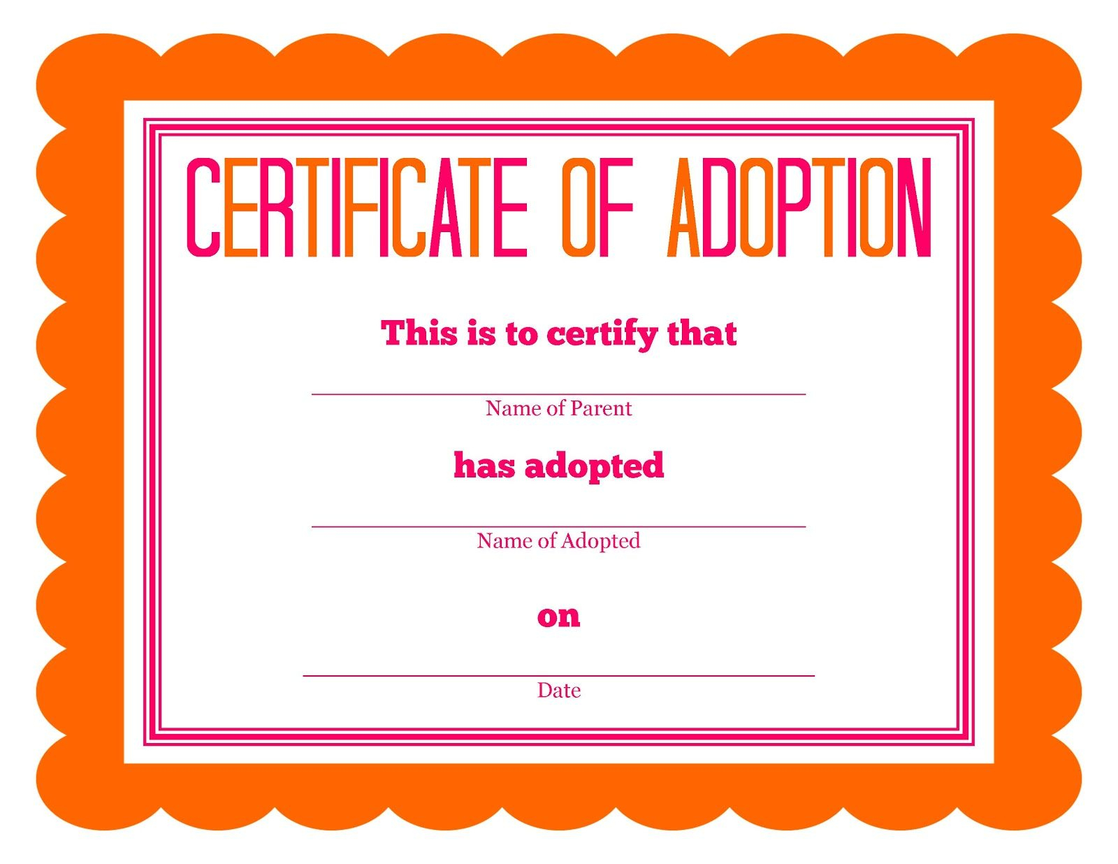 Stuffed Animal Adoption Party Detail-Oriented Diva! | Party: Kids - Fake Adoption Certificate Free Printable