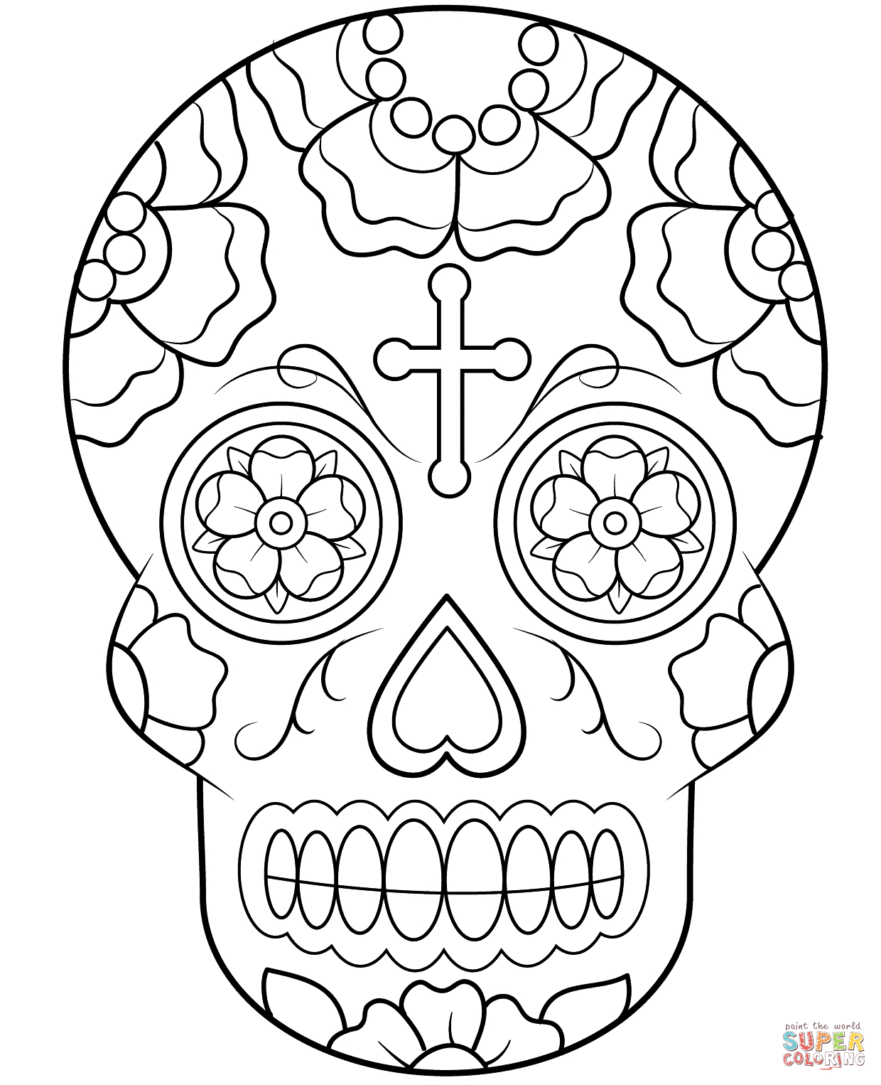 Sugar Skulls Coloring Pages | Free Coloring Pages - Free Printable Sugar Skull Coloring Pages