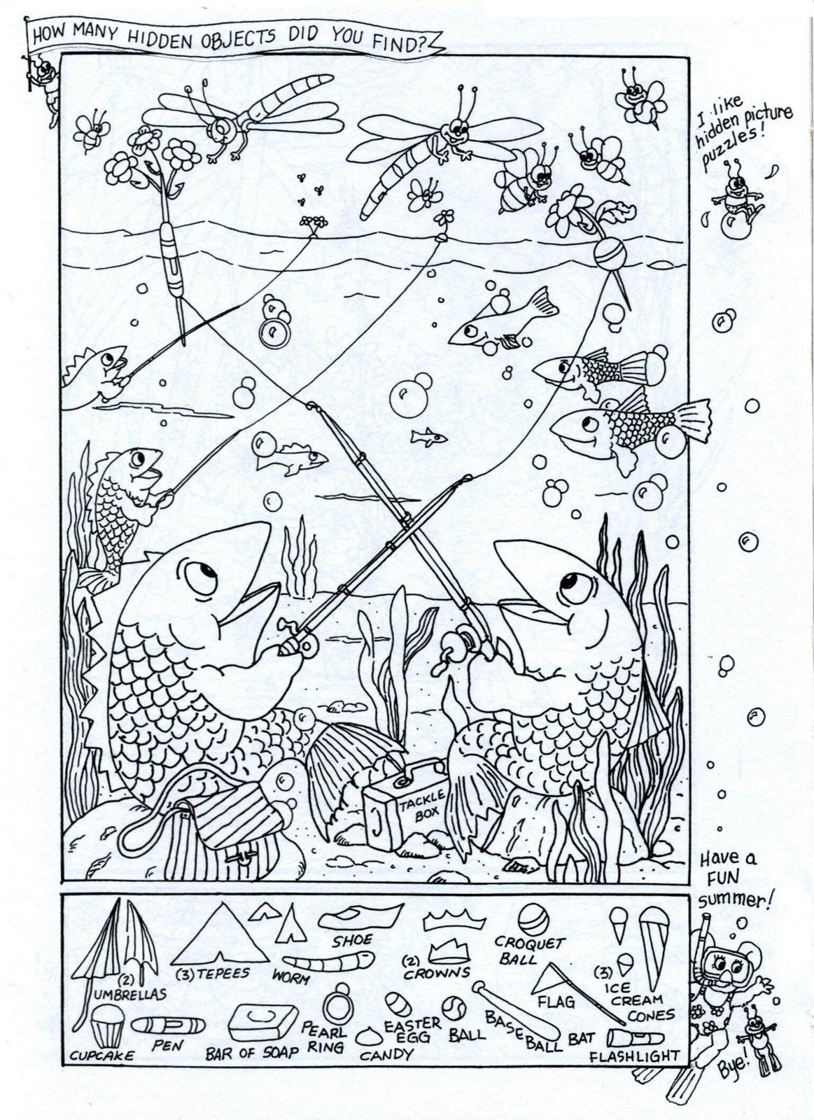 Summer Fun - Hidden Picture Puzzle/coloring Page   Puzzles-Logic - Free Printable Summer Puzzles