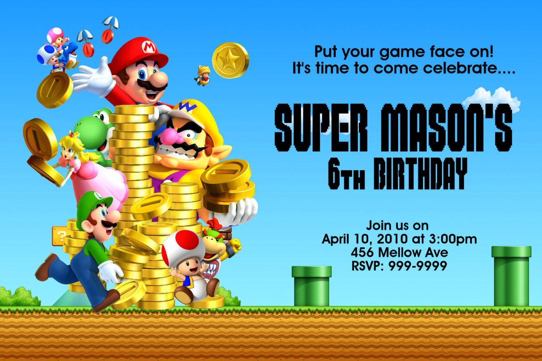 Super Mario Bros Birthday | Free Printable Birthday Invitation - Free Printable Super Mario Bros Invitations