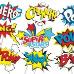 Superhero Action Party Photo Booth Props Or Superhero Cake Toppers   Free Printable Superhero Photo Booth Props