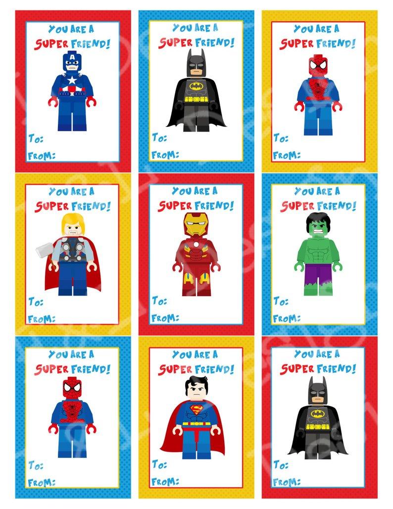 Superhero Valentine's Day Cards Valentine's Day   Etsy - Free Printable Superman Valentine Cards