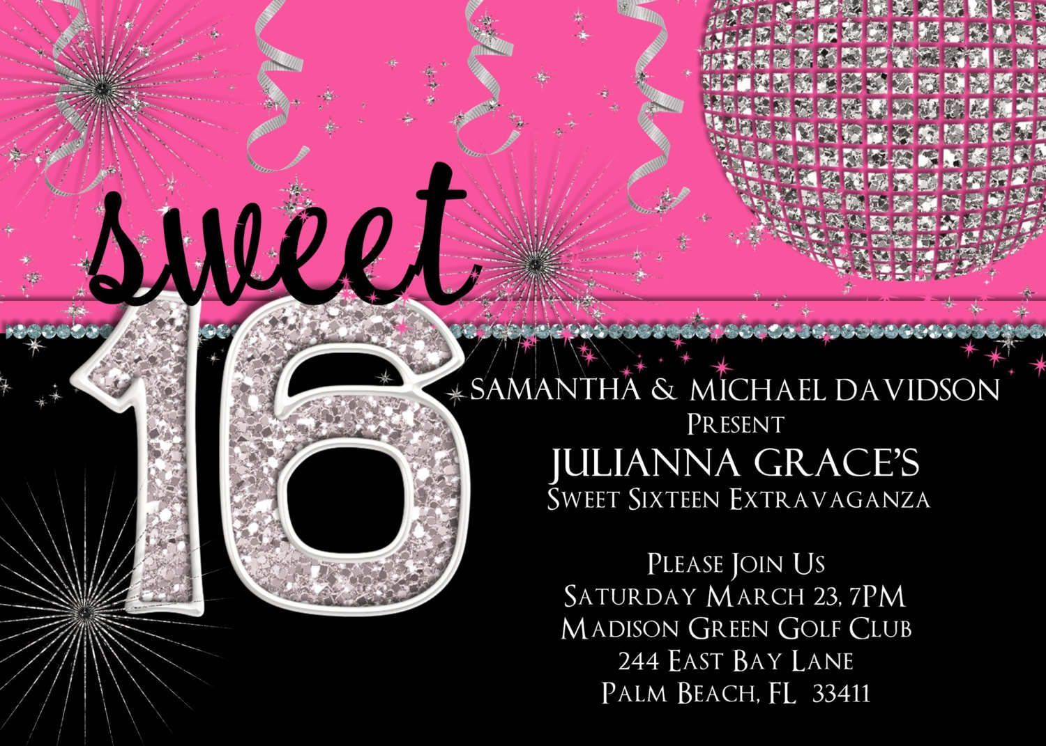 Sweet Sixteen Invitations | Sweet 16 Invitation Templates With Black - Free Printable Sweet 16 Birthday Party Invitations