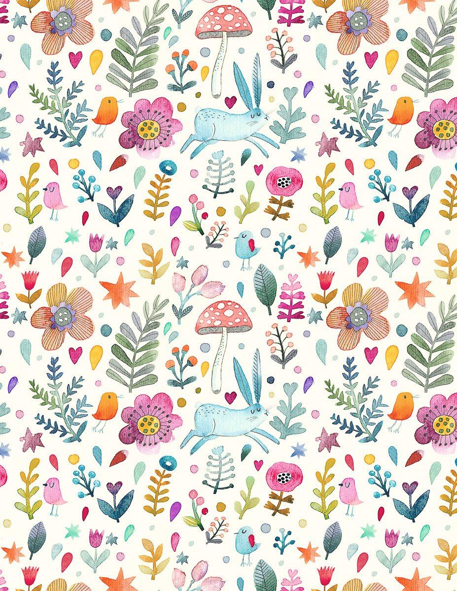 Sweet Watercolor Bunny Gift Wrap - Free Printable - Tinselbox - Free Printable Paper