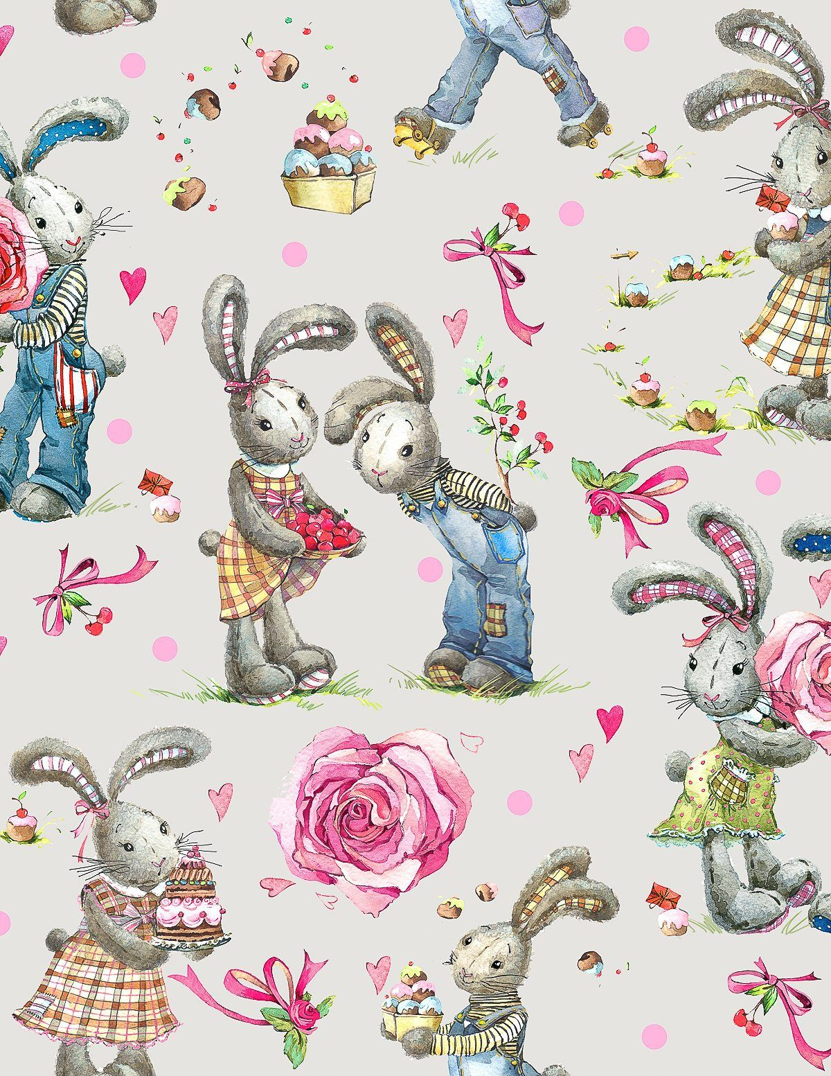 Sweet Watercolor Bunny Gift Wrap - Free Printable | Vintage - Free Printable Easter Wrapping Paper