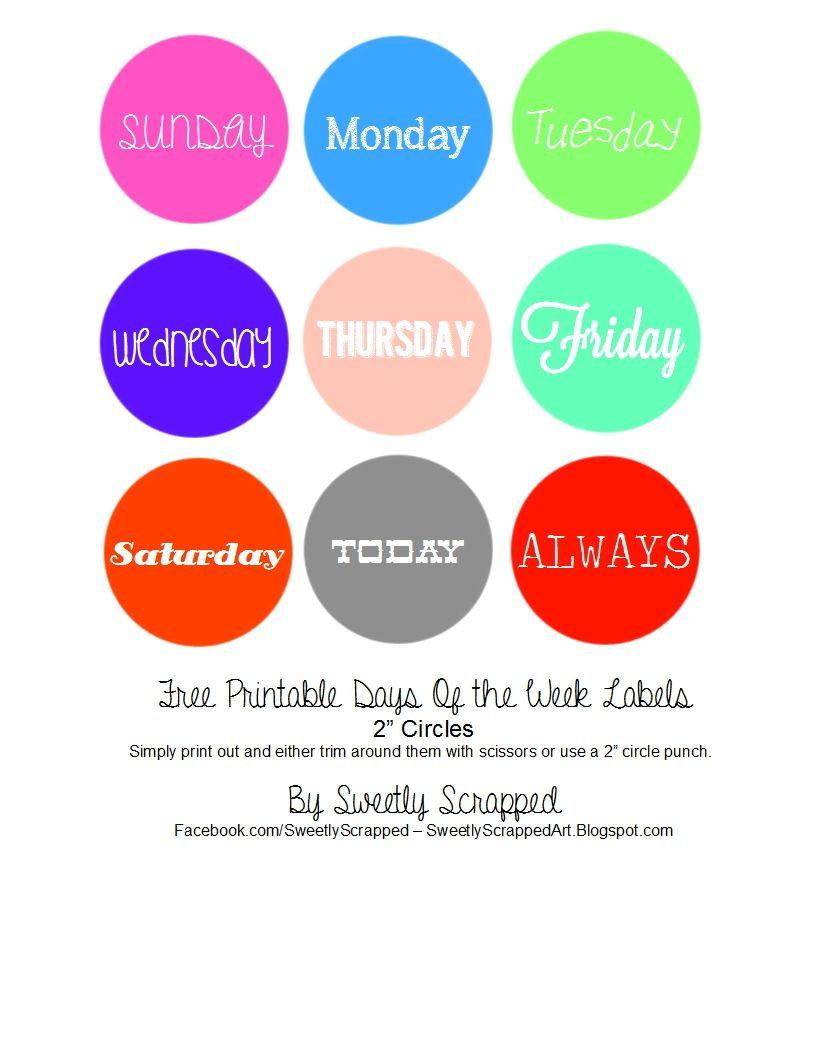 Sweetly Scrapped: Free Printable Days Of The Week Circle Labels - Free Printable Days Of The Week Cards