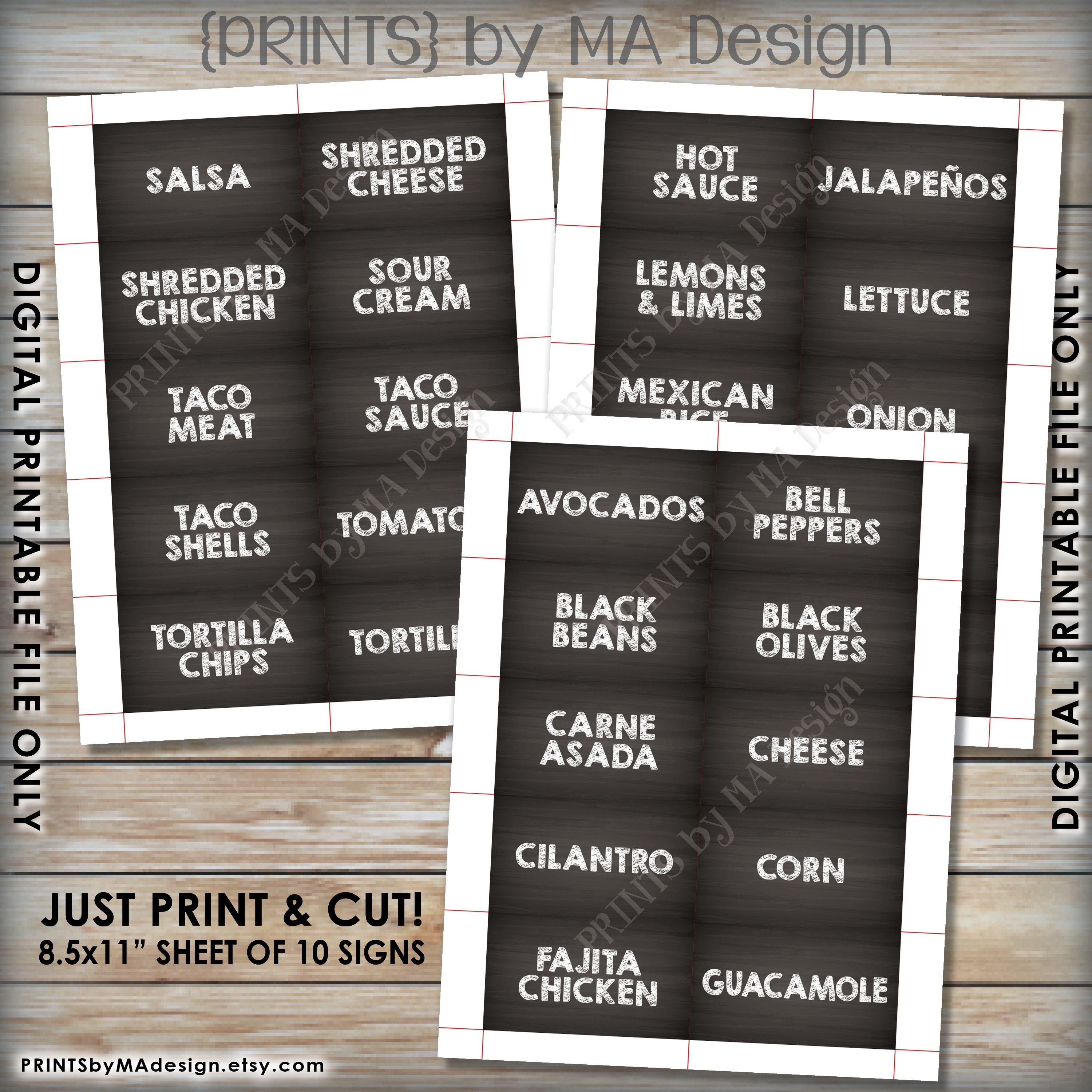 Taco Bar Sign And Labels, Build Your Own Taco Station, Nacho Fiesta - Free Printable Taco Bar Signs