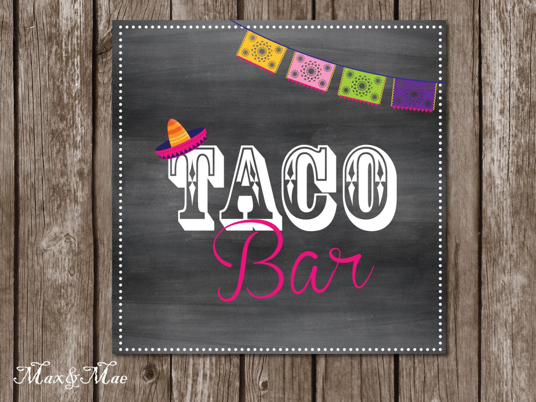 Taco Bar Sign Fiesta Party Posters Hot And Mild Tags Taco | Etsy - Free Printable Taco Bar Signs