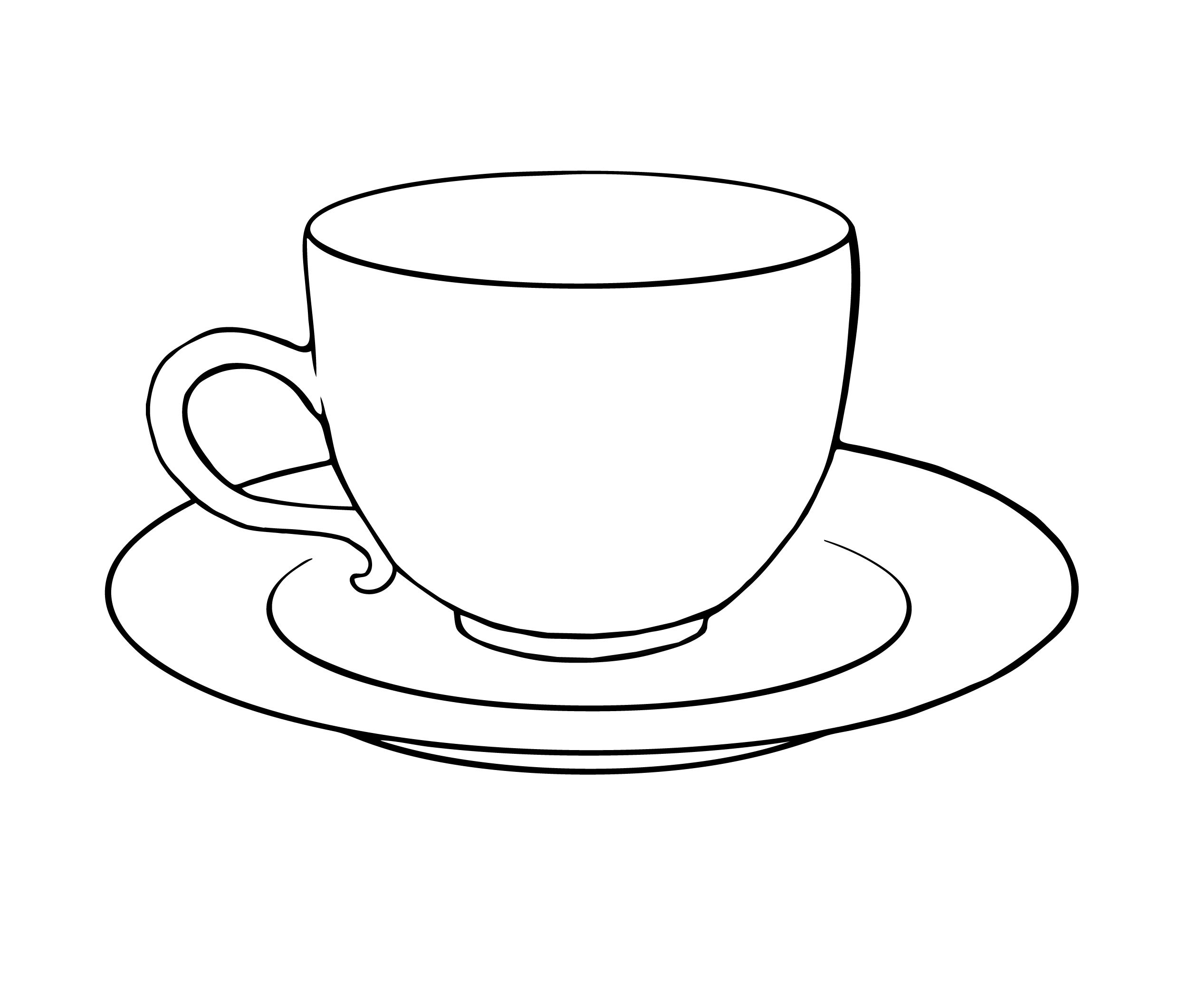 Tea Cup And Saucer Drawing Sketch Coloring Page | Crafty Stuff - Free Printable Tea Cup Coloring Pages