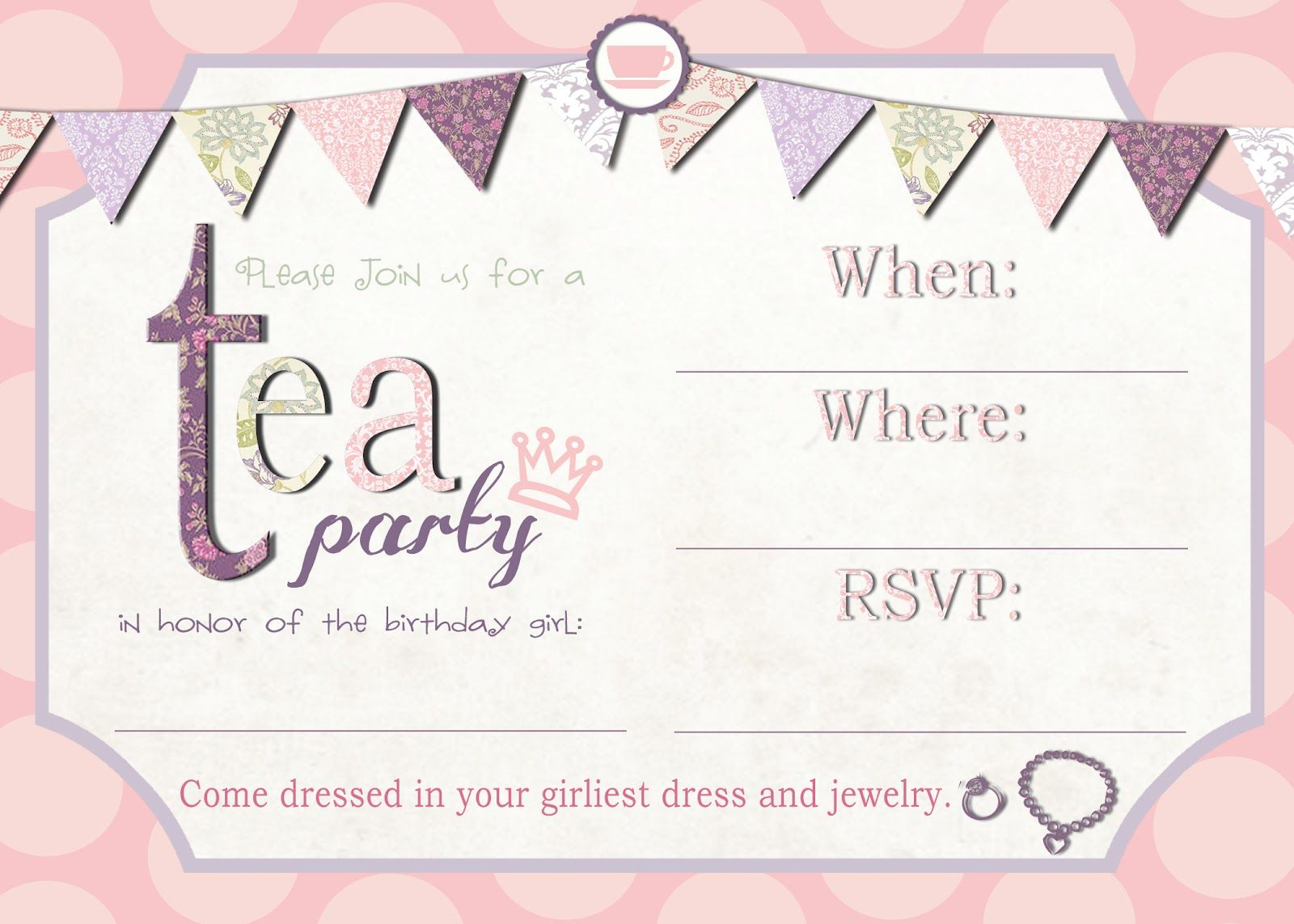 Tea Party Invitation Template Download – Invitetown   Girls' Tea - Free Printable Kitchen Tea Invitation Templates