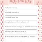 Teacher Appreciation Week Questionnaire   A Personalized Teacher Gift   All About My Teacher Free Printable