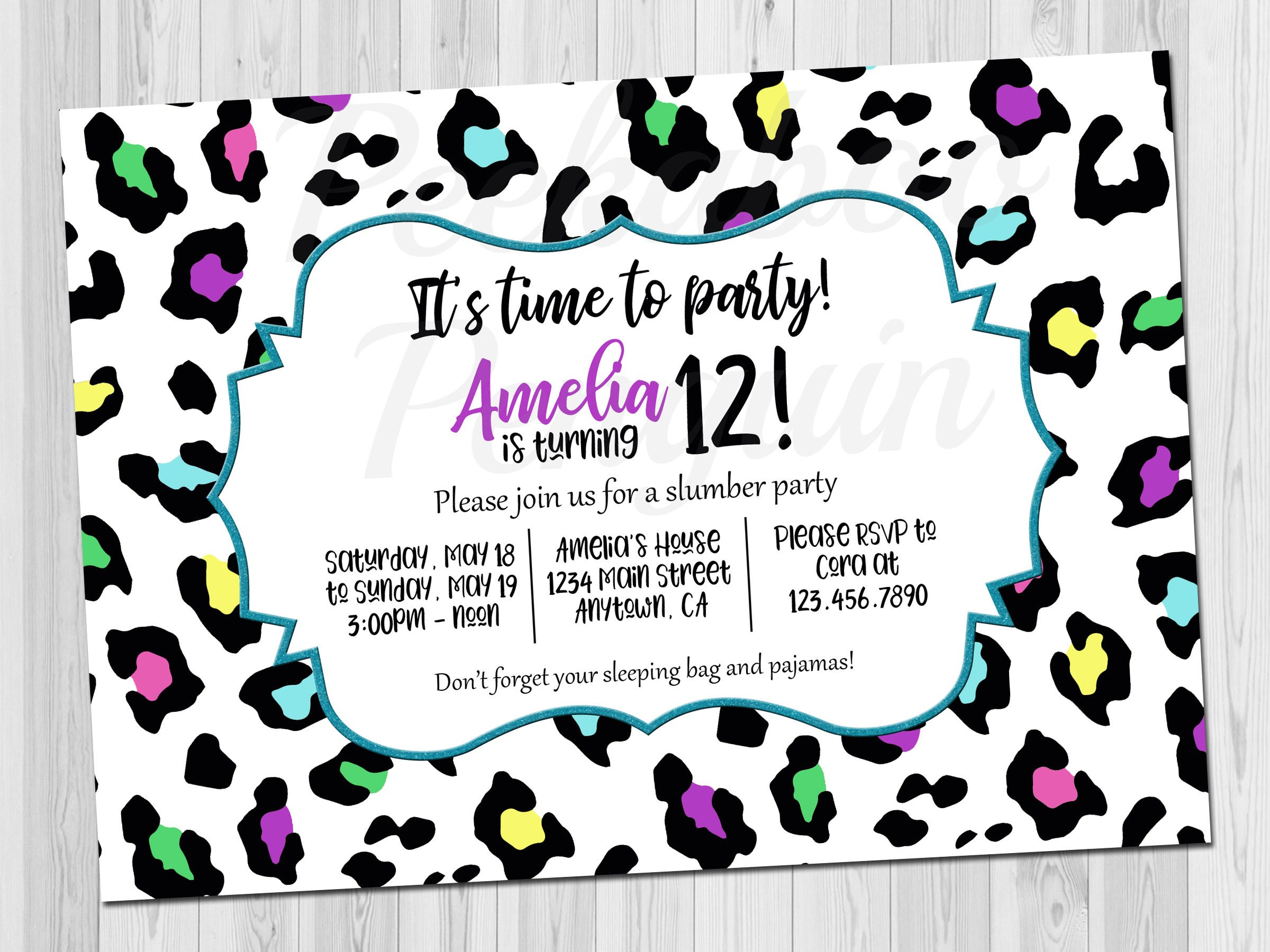 Teen Birthday Invitation Tween Birthday Invite Rainbow | Etsy - Free Printable Cheetah Birthday Invitations