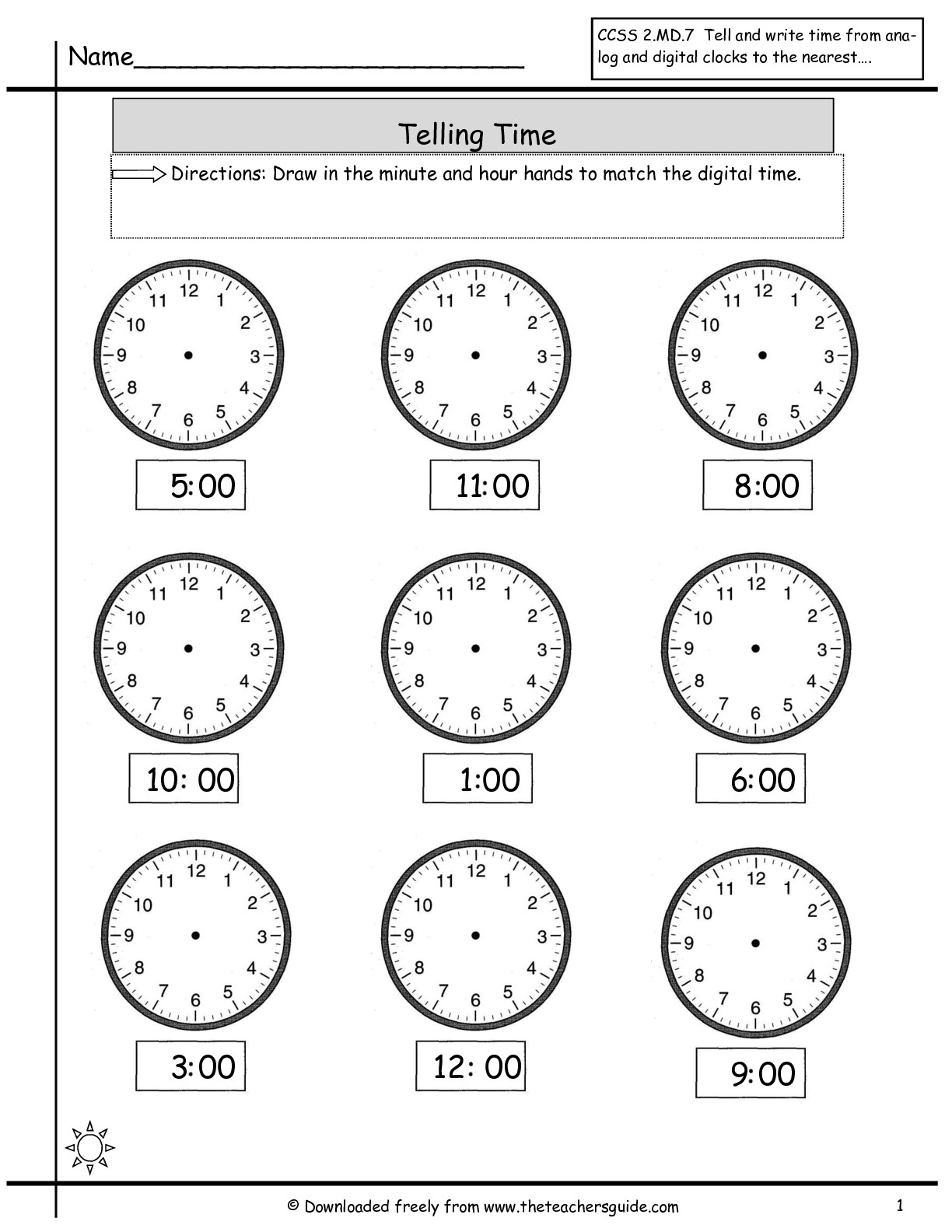Telling Time Worksheets From The Teacher's Guide - Free Printable Telling Time Worksheets