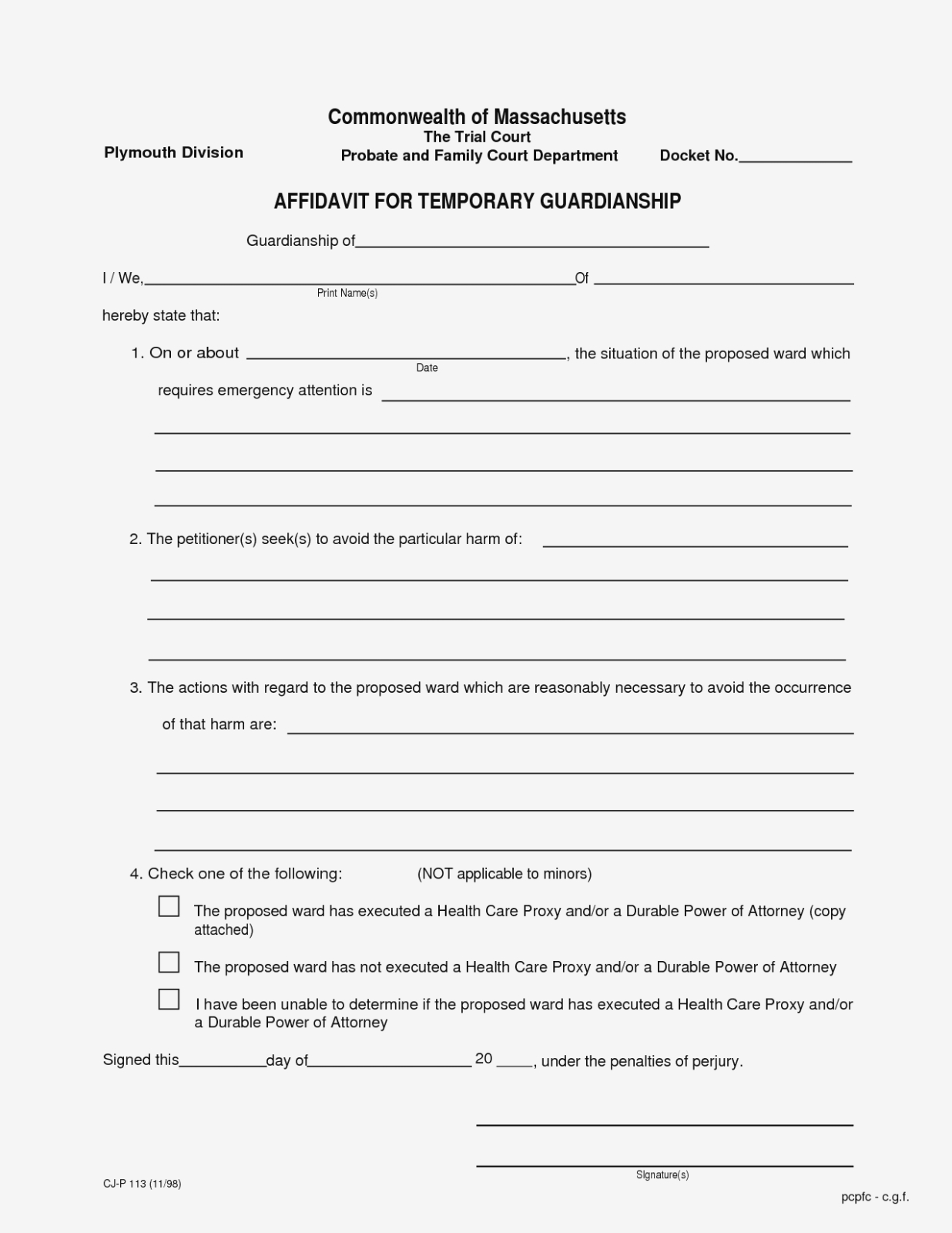 Temporary Guardianship Form Texas New Temporary Custody Form - Free Printable Child Custody Forms