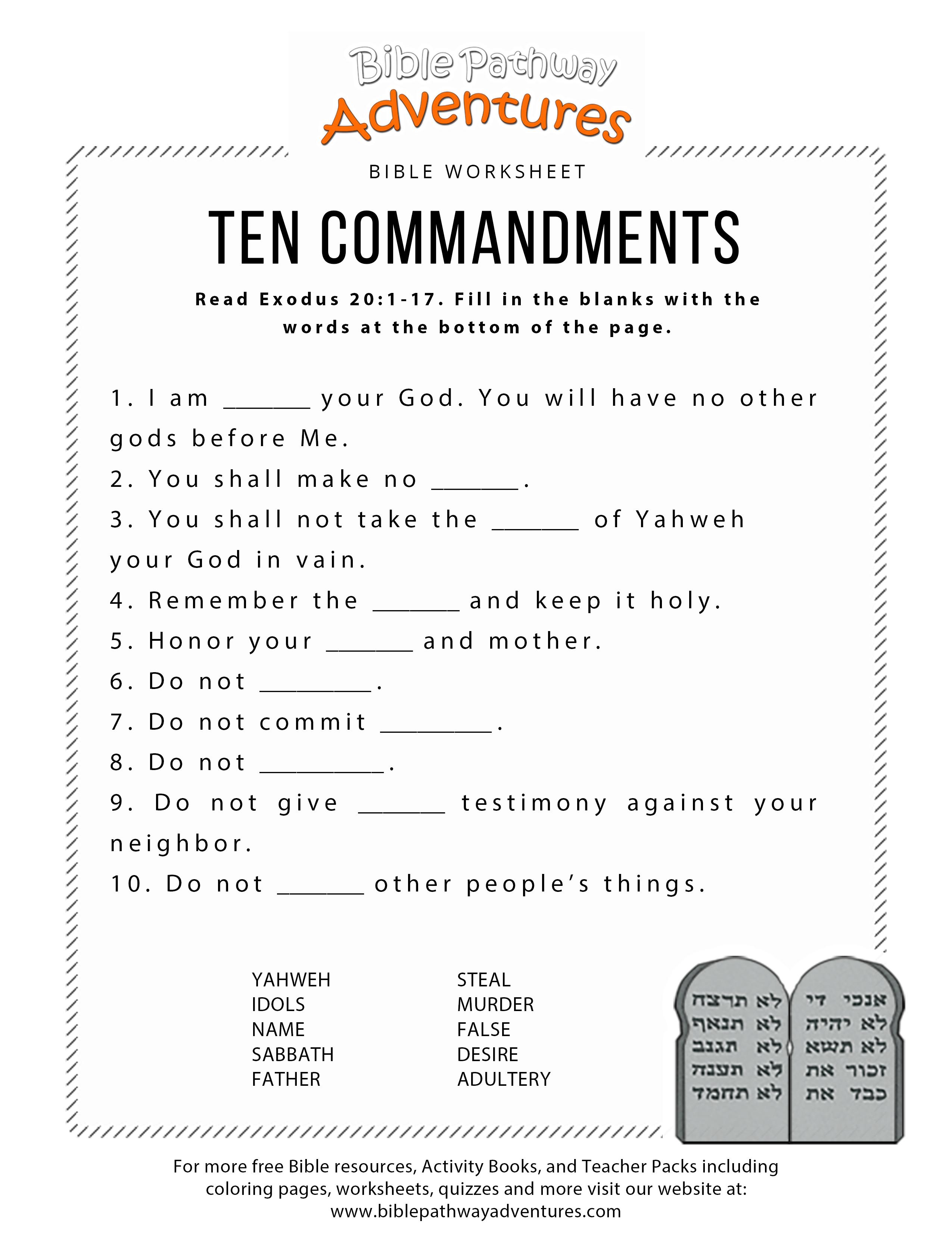 Ten Commandments Worksheet For Kids - Free Printable Children's Bible Lessons Worksheets