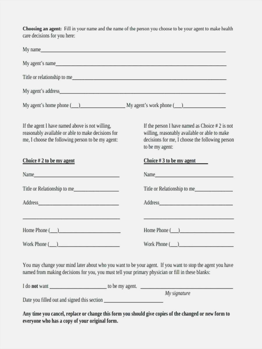 Ten Things You Won't Miss | Invoice And Resume Template Ideas - Free Printable Advance Directive Form