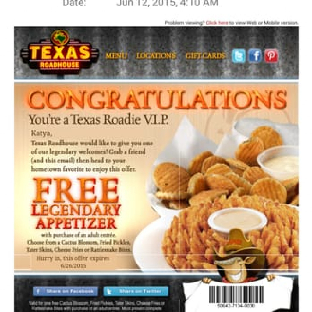 Texas Roadhouse Coupons Printable - Couponcabin Iphone App In Texas - Texas Roadhouse Free Appetizer Printable Coupon 2015