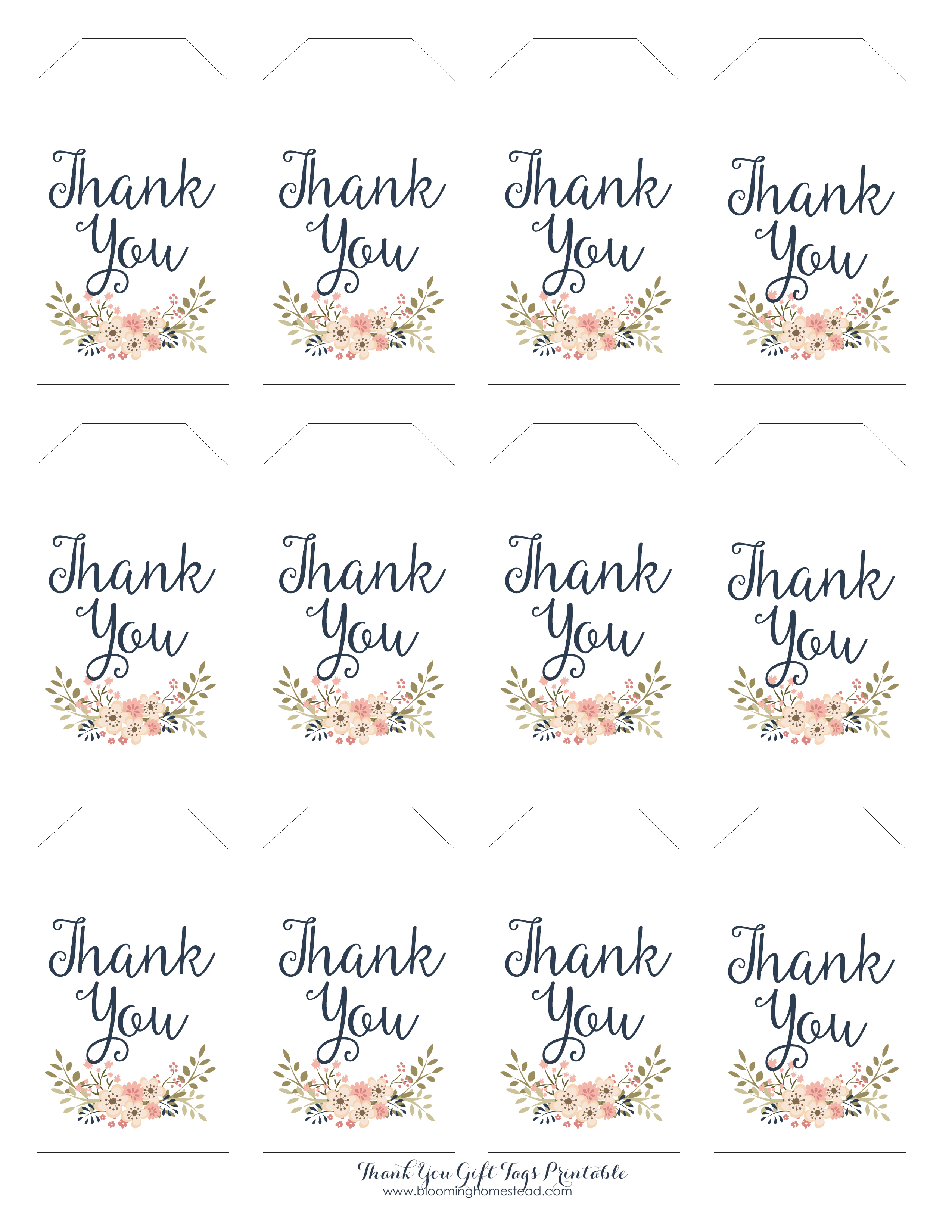 Thank You Gift Tags - Blooming Homestead - Thank You For Coming Free Printable Tags