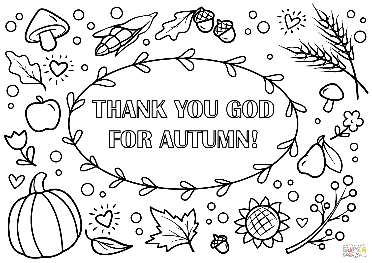 Thank You God For Autumn! Coloring Page | Free Printable Coloring Pages - Free Printable Autumn Coloring Sheets