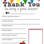 Thank You Teacher Free Printable | School Days | Pinterest | Teacher   All About My Teacher Free Printable