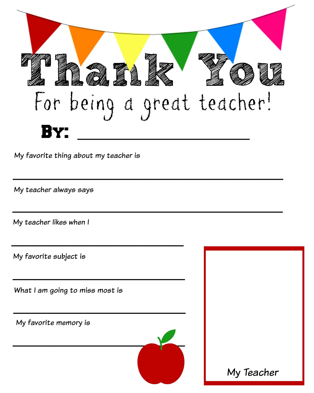 Thank You Teacher Free Printable | School Days | Pinterest | Teacher - Free Printable Thank You