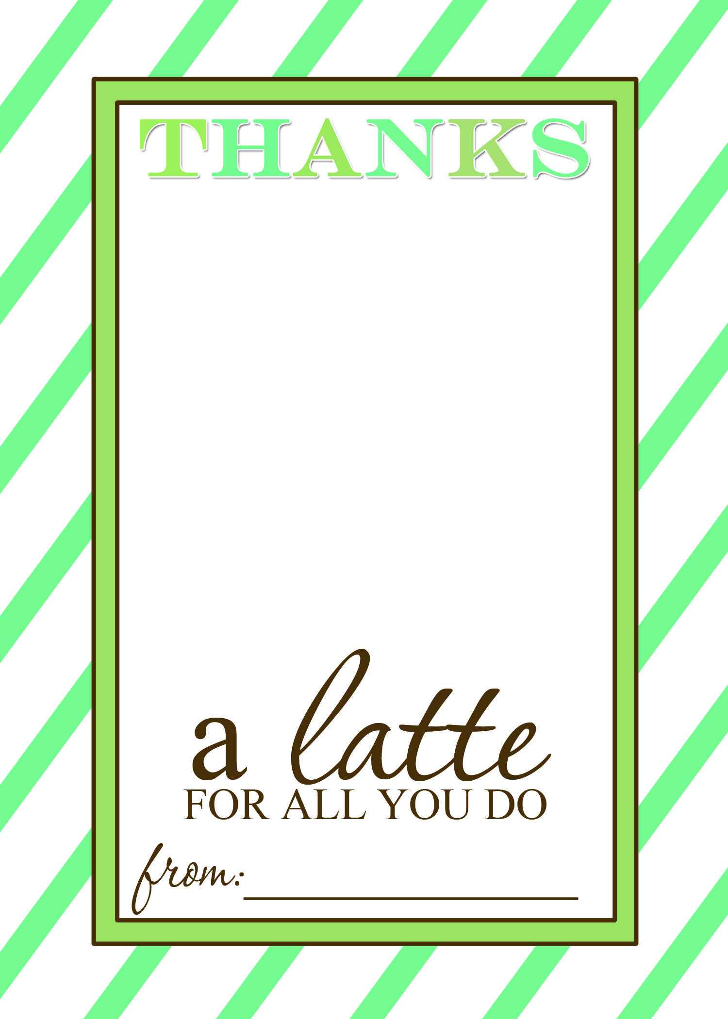 Thanks A Latte Free Printable Gift Card Holder Teacher Gift | Craft - Thanks A Latte Free Printable Gift Tag